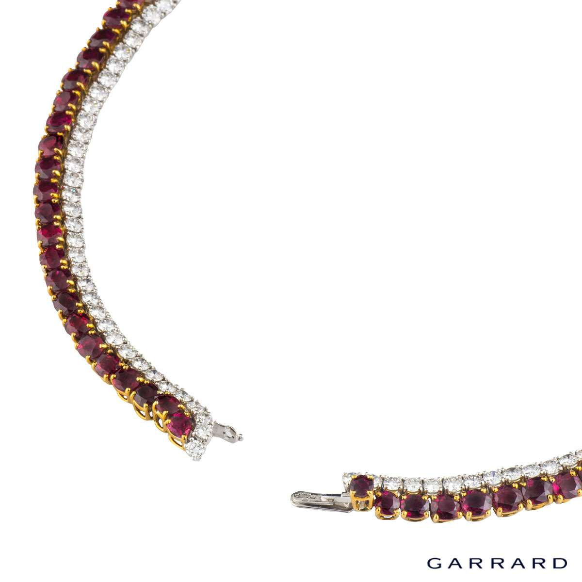 Garrard 18k Yellow Gold & Platinum Burmese Ruby & Diamond Necklace